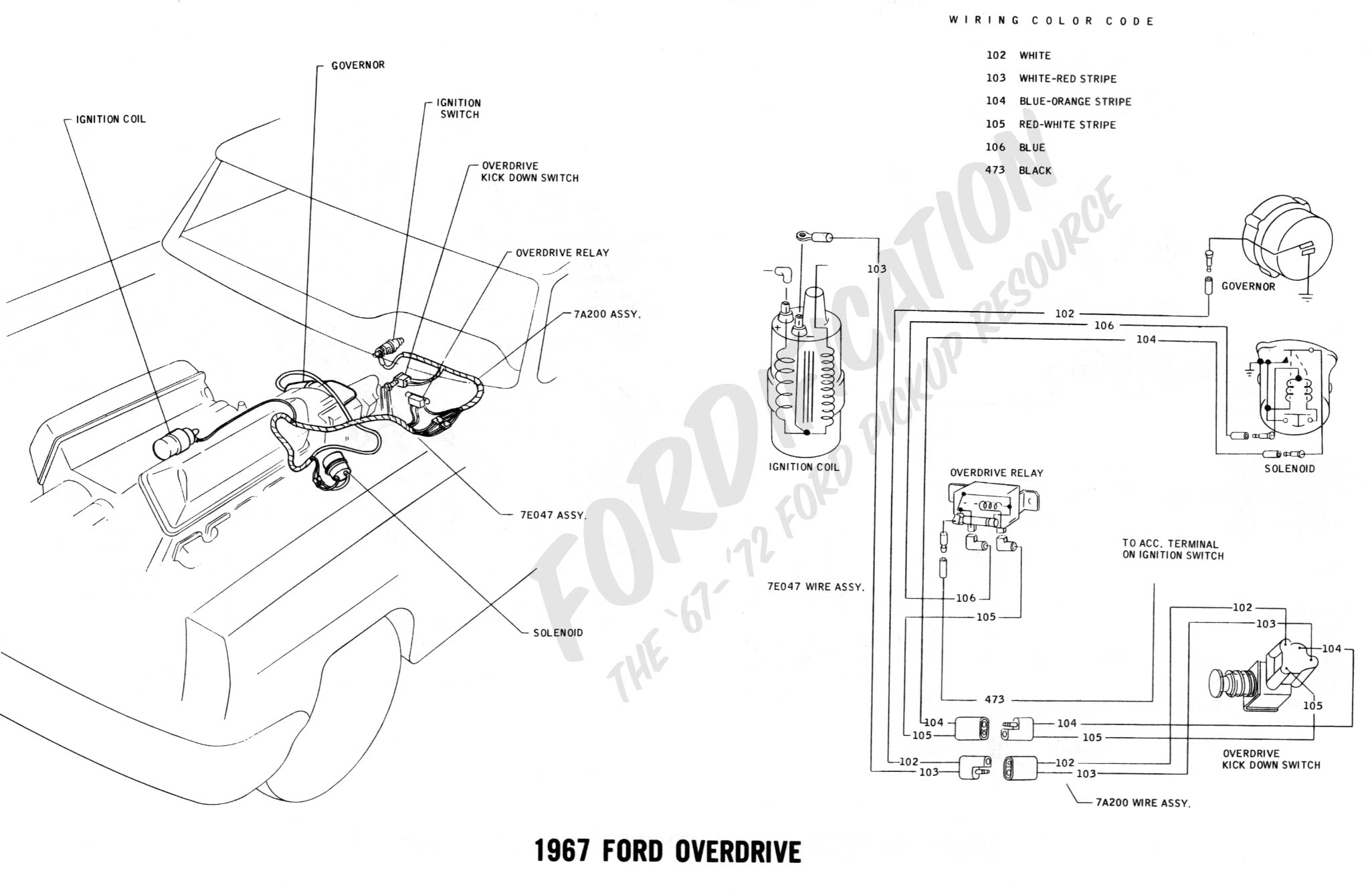 Ford Truck Technical Drawings And Schematics Section H Wiring 1967 F 100 Color Diagram Series Overdrive 1968