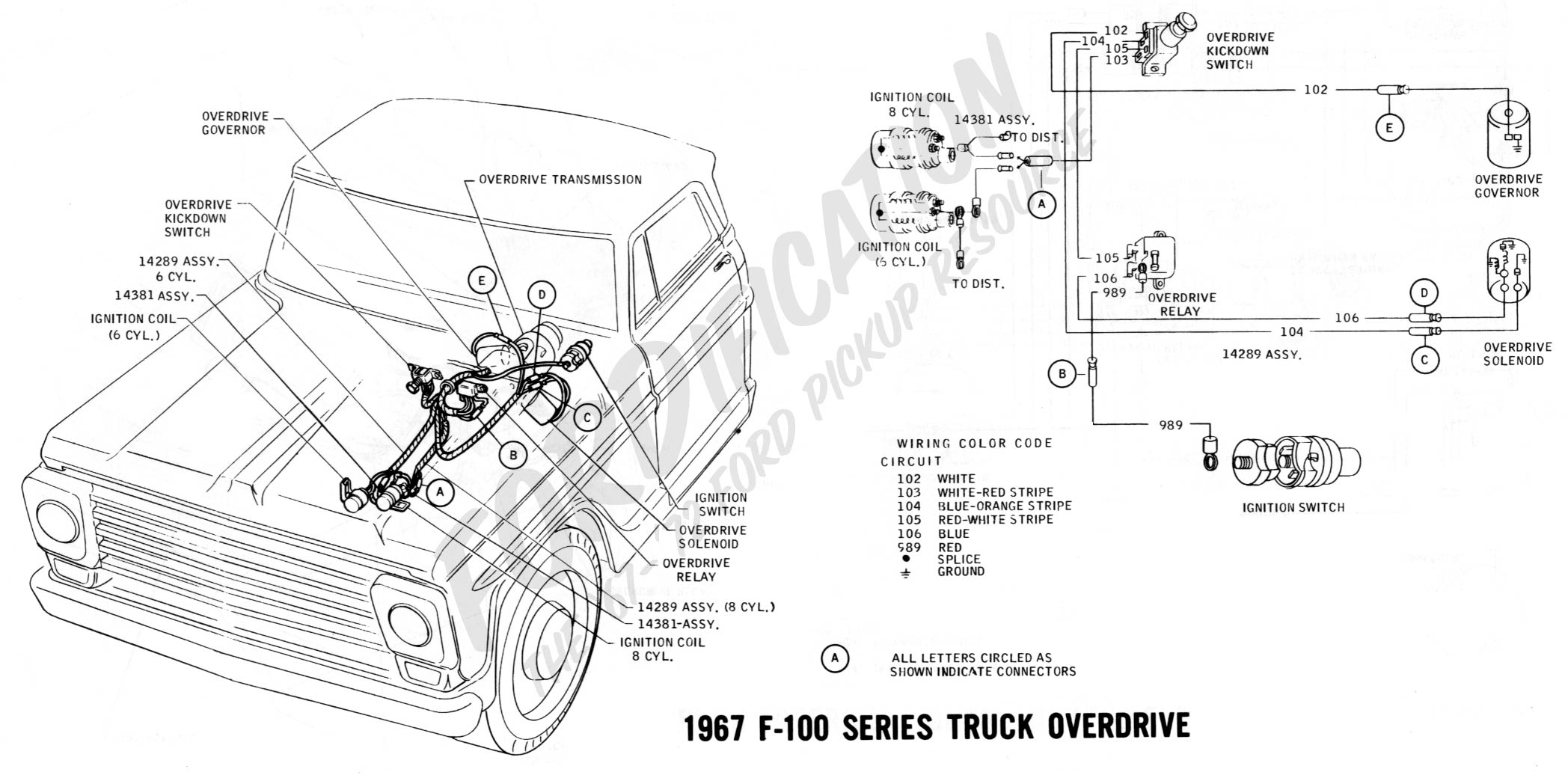 Ford Truck Technical Drawings And Schematics Section H Wiring 1991 E350 Fuse Box 1967 F 100 Series Overdrive