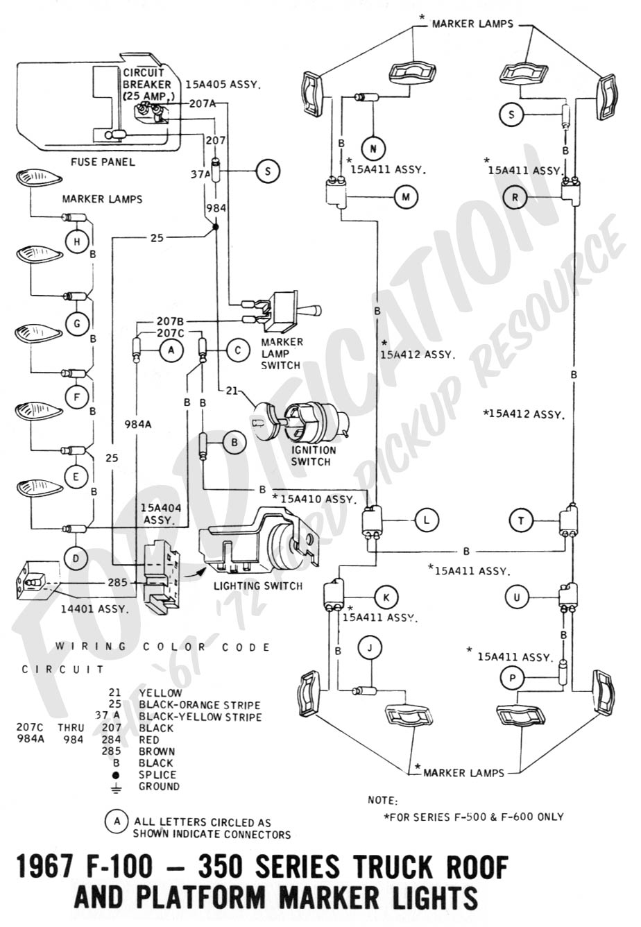 Ford Truck Technical Drawings And Schematics Section H Wiring 1967 Chevy Chevelle Diagram F 100 Thru 350 Roof Platform Marker Lights
