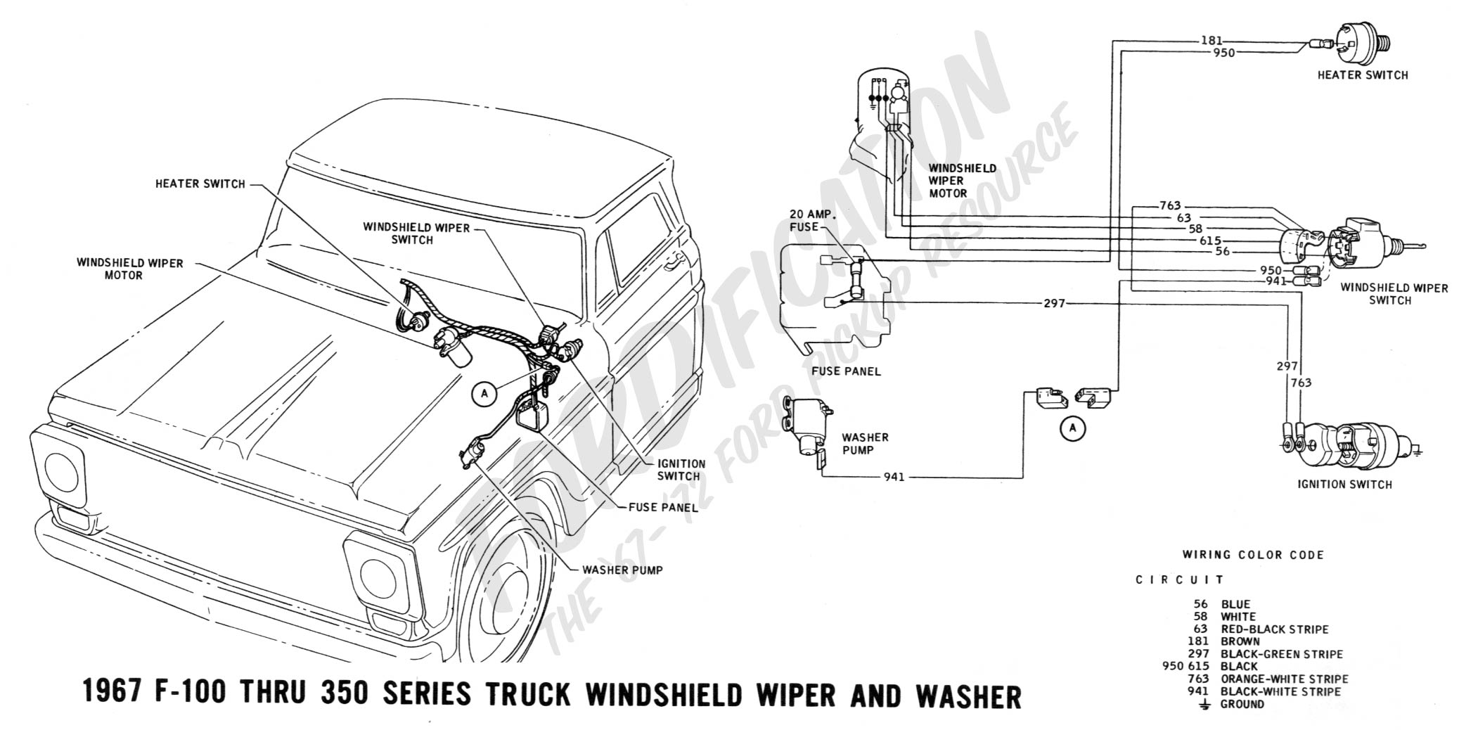 ford truck technical drawings and schematics section h wiring 88 ford wiper switch wiring 1967 f 100 thru f 350 windshield wiper and washer