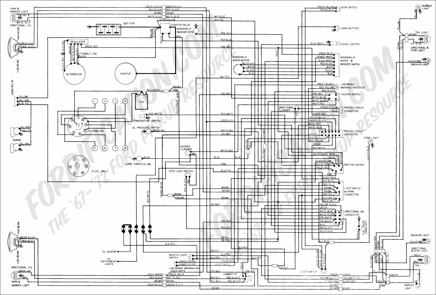 Light Switch Wiring Diagram 1972 Ford Wire Data Schema For Multiple Switched Outlets Truck Technical Drawings And Schematics Section H Rh Fordification Com 2 Way Diagrams