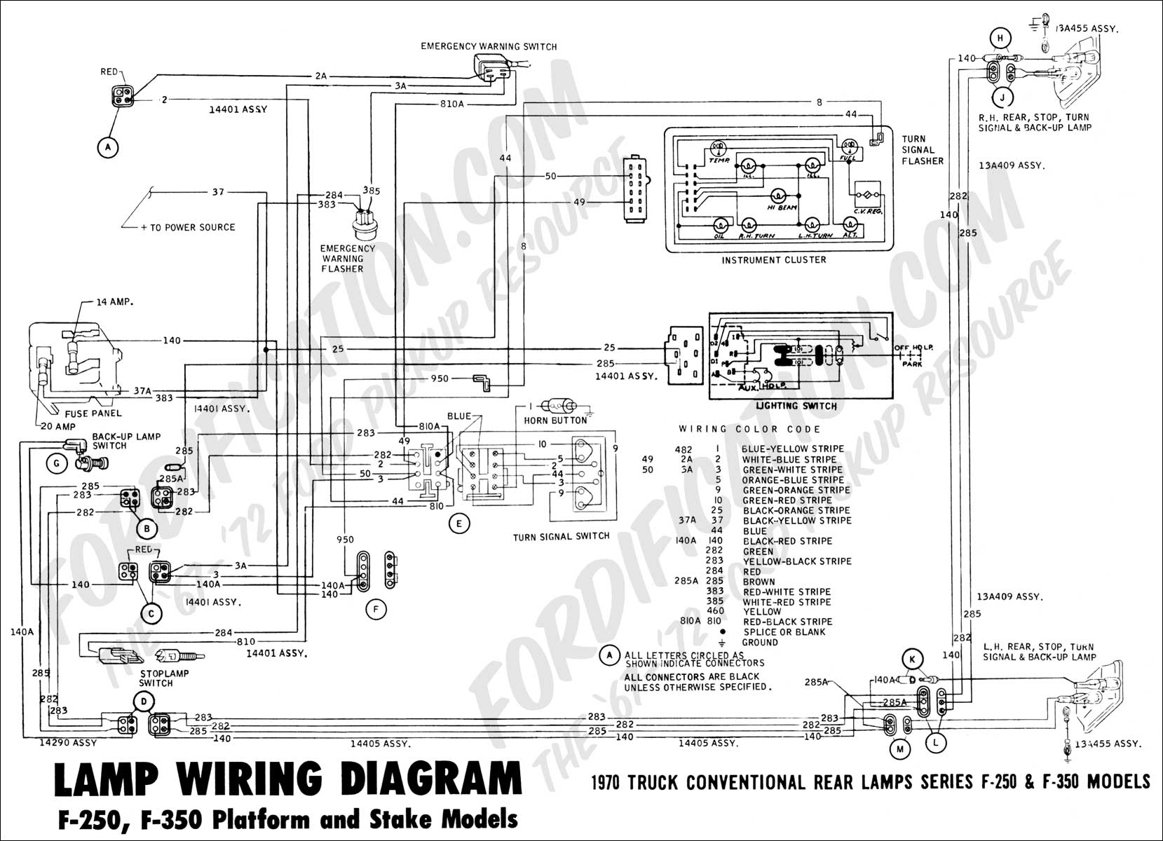ford truck technical drawings and schematics section h wiring Nissan Versa Headlight Switch Wiring Diagram 1970 f 250, f 350 platform stake rear lamp wiring 01