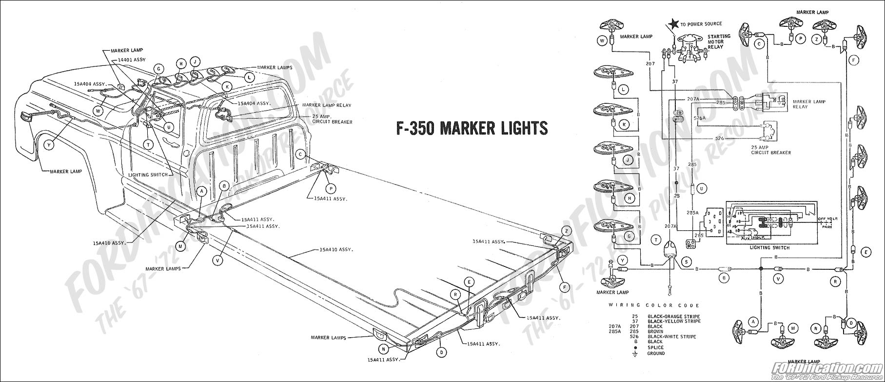 ford truck technical drawings and schematics section h wiring 2001 f250 radio wiring diagram 1969 f 350 marker lights