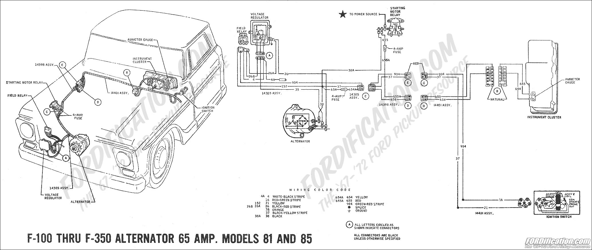 Ford Truck Technical Drawings And Schematics Section H Wiring 72 Dodge Ignition Switch 1969 F 100 Thru 350 Alternator 65 Amp Models 81 85